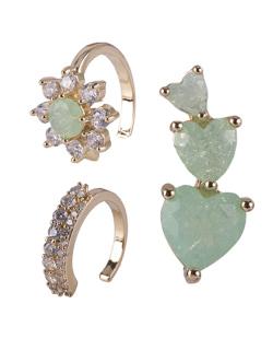 Kit com 3 brincos dourado com pedra verde Edith