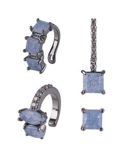 Kit com 4 brincos grafite com pedra azul Lisiane