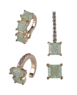 Kit com 4 brincos dourado com pedra verde Lisiane