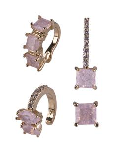 Kit com 4 brincos dourado com pedra rosa Lisiane