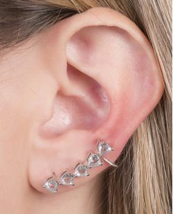 Ear cuff de metal prateado com pedra azul Laura