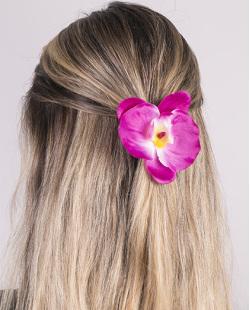 Presilha de flor rosa lily