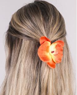 Presilha de flor laranja lily