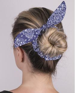 Laço de tecido scrunchies  azul marinho Dafne
