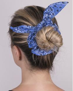 Laço de tecido scrunchies  azul Dafne