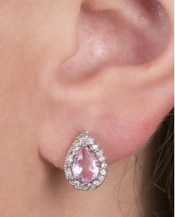 Brinco pequeno de metal prateado com pedra rosa Isabelle