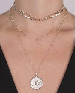 Kit 3 colares de metal dourado Veneza