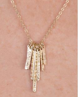Kit 3 colares de metal dourado com pedra cristal Monza