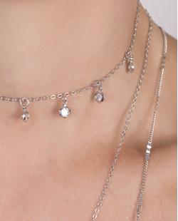 Kit 3 colares de metal prateado com pedra rosé Salerno