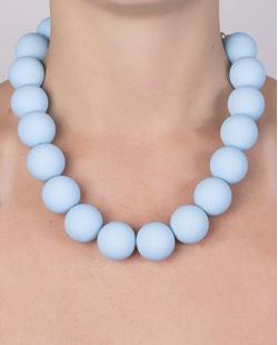 Colar de acrílico com bolas azul Marina