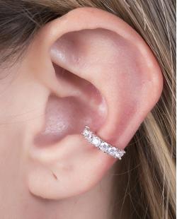 Piercing fake prateado com strass cristal Bey