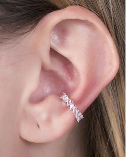 Piercing fake prateado com strass rosa Naty
