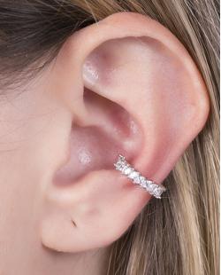 Piercing fake prateado com strass cristal Naty