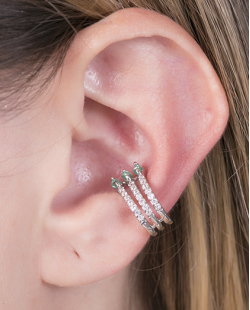 Piercing fake prateado com strass cristal e pedra turquesa Manu