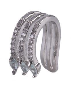 Piercing fake prateado com strass cristal e pedra azul Manu