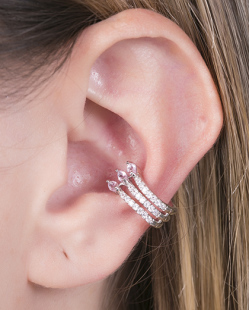 Piercing fake prateado com strass cristal e pedra rosa Manu