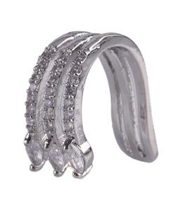 Piercing fake prateado com strass e pedra cristal Manu