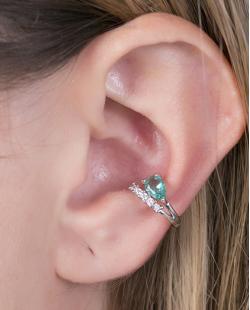 Piercing fake prateado com strass cristal e pedra turquesa Gabi