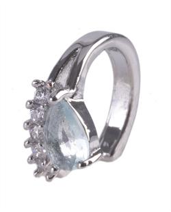 Piercing fake prateado com strass cristal e pedra azul Gabi