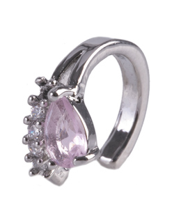 Piercing fake prateado com strass cristal e pedra rosa Gabi