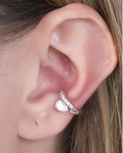 Piercing fake prateado com strass e pedra cristal Gabi
