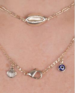 Kit 3 colares de metal dourado com pedra azul e búzios whin