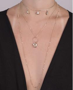 Kit 3 colares de metal dourado com búzios Lulu