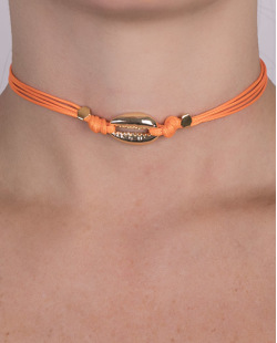 Gargantilha choker laranja com búzio Alexandra