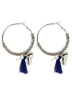 Brinco de argola de metal prateado com tassel azul Nicki