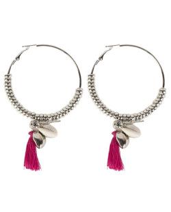 Brinco de argola de metal prateado com tassel rosa Nicki