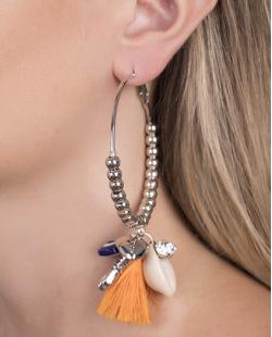 Brinco de argola de metal prateado com tassel laranja Nicki
