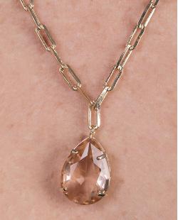Colar de metal dourado com pedra rosé Gaby