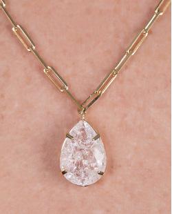 Colar de metal dourado com pedra cristal Gaby