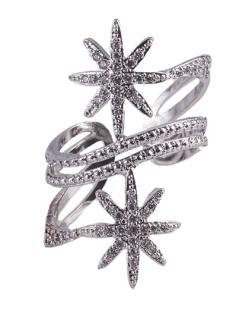 Anel de metal prateado com strass cristal Tayane