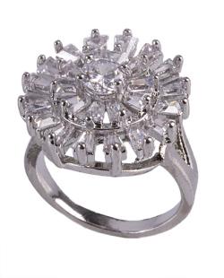 Anel de metal prateado com strass e pedra cristal Noemi