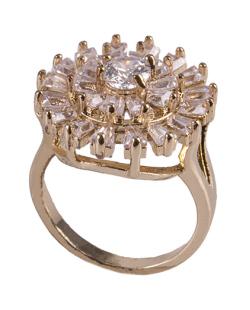 Anel de metal dourado com strass e pedra cristal Noemi