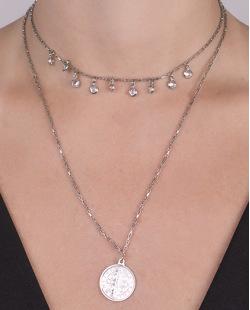 Colar de metal prateado com pedra cristal Isadora