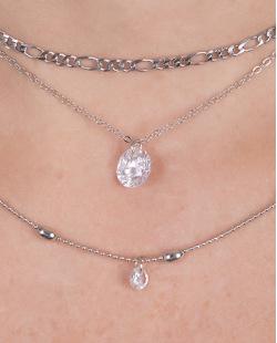 Kit 3 colares de metal prateado com pedra cristal Joana