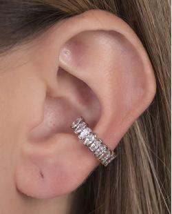 Piercing fake prateado com pedra cristal Ariana