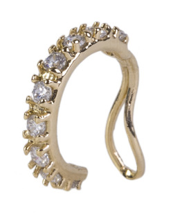 Piercing fake dourado com pedra cristal jamie