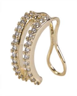 Piercing fake dourado com strass cristal Aguilera