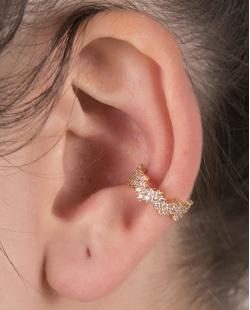 Piercing fake dourado com strass cristal Rihanna