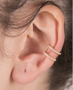 Piercing fake dourado com strass cristal shania