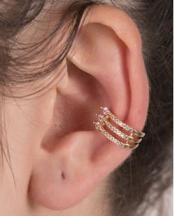 Piercing fake dourado com strass cristal Bazzi