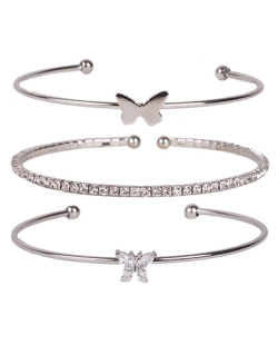 Kit 3 pulseiras de metal prateado com pedra cristal Joice