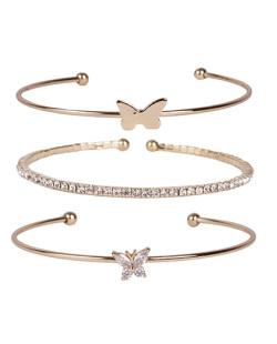 Kit 3 pulseiras de metal dourado com pedra cristal Joice