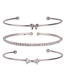 Kit 3 pulseiras de metal prateado com pedra cristal Daniela