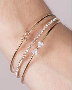 Kit 3 pulseiras de metal dourado com pedra cristal Daniela