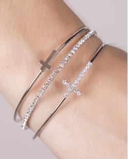 Kit 3 pulseiras de metal prateado com pedra cristal Nazaré