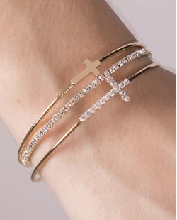 Kit 3 pulseiras de metal dourado com pedra cristal Nazaré